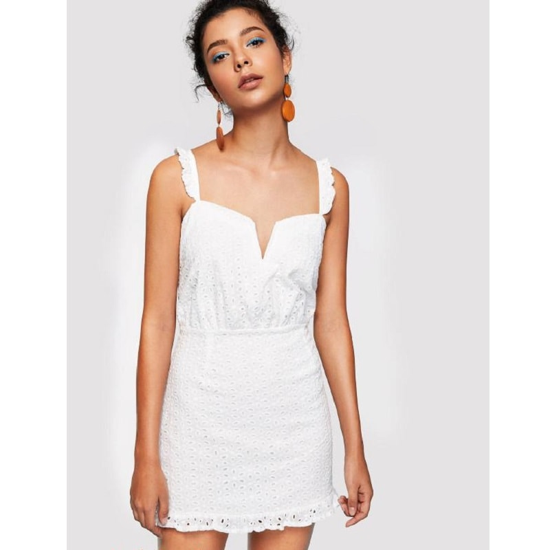 White Ruffle Strap Eyelet Embroidered Dress