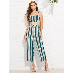 Green Tied Back Striped Crop Cami & Culotte Pants Set
