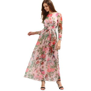 Pink Self-Tie Rose Print Long Sleeve Chiffon Dress