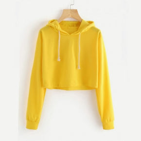 Yellow Drawstring Hooded Crop Sweatshirt for women online - madrushfahion.com