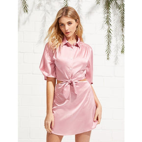 Pink Front Knot Satin Shirt Dress