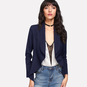 Navy Blue Shawl Collar Open Front Blazer