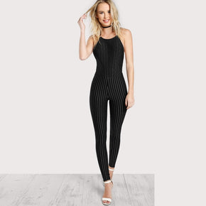Black Cross Back Backless Pinstripe Jumpsuit