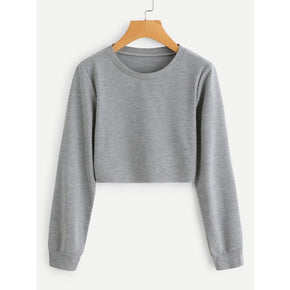 Grey Round Neck Crop Sweatshirt