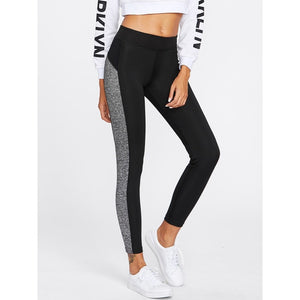 Black and grey legging for active wear women online - madrushfashion.com