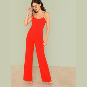 Orange wide leg culotte jumpsuit with a scoop neck and spaghetti straps - madrushfashion.com
