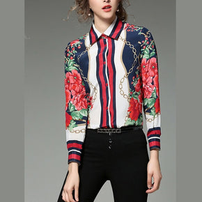 Multicolor Chain And Flower Print Shirt
