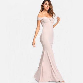 Pink Off Shoulder Twist Front Dress