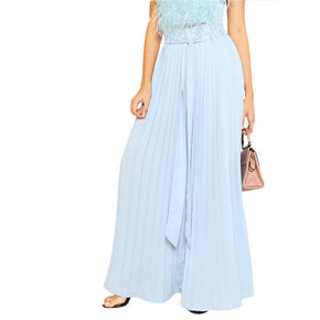 Blue Self Tie Pleated Palazzo Pants