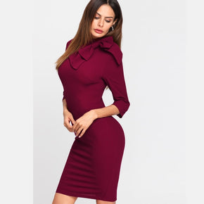 Burgundy Exaggerate Bow Detail Formal Dress