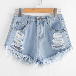 Blue Destroyed Fray Hem Denim Shorts