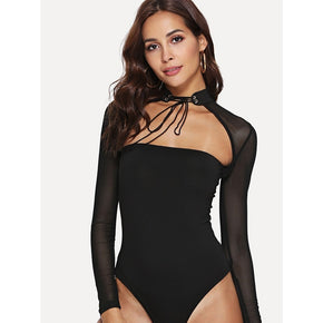 Black Sheer Mesh Cut Out Bodysuit