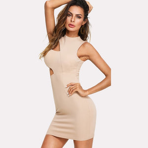 Nude Color Cut Out Zip Back Tank Dress