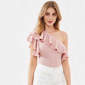 Pink Flounce One Shoulder Textured Bodysuit