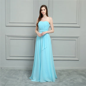 Blue Scoop Pleats Chiffon A-Line Prom Dress