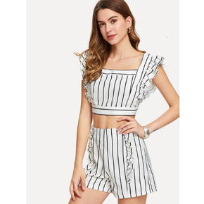 White and Black Striped Ruffle Trim Crop Top With Shorts
