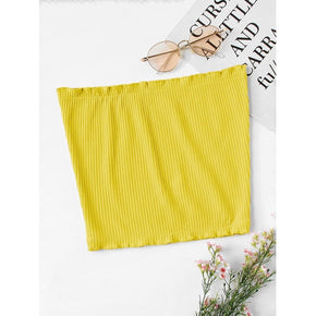 Yellow Frill Trim Ribbed Bandeau Top