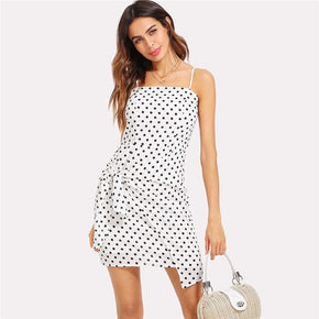 White Polka Dot Bow Tie Back Wrap Cami Dress