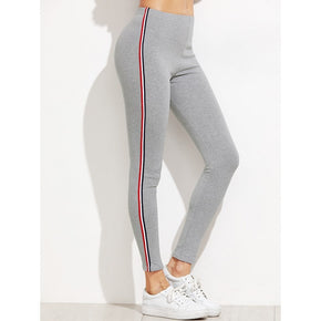 Grey side striped leggings for active wear - madrushfashion.com