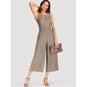 Grey Self Tie Waist Jumpsuit