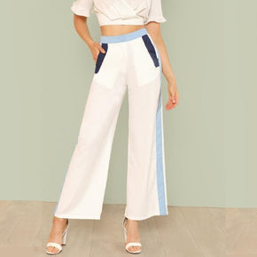 White Cut And Sew Wide Leg Pants