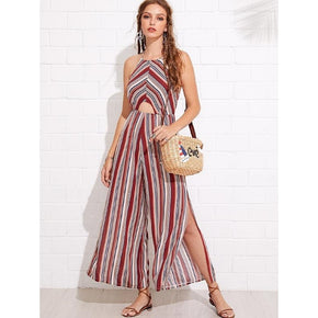 Multicolor Split Side Backless Striped Jumpsuit