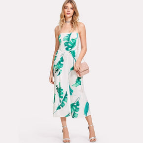Tropical Palm Leaf Print Tube Jumpsuit