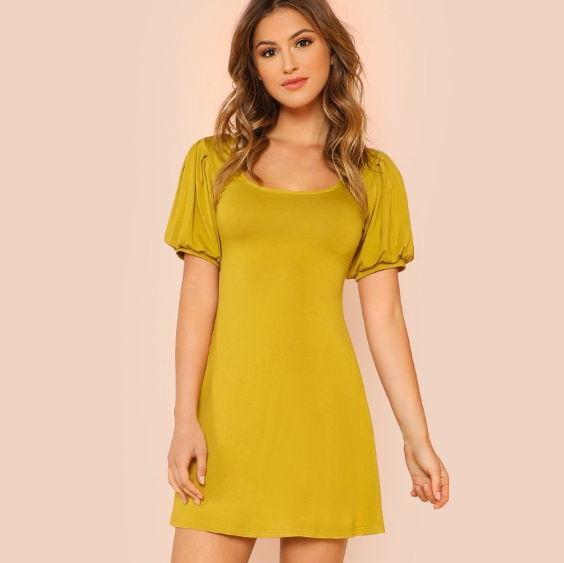 Mustard Yellow Scoop Neck Puff Sleeve Dress