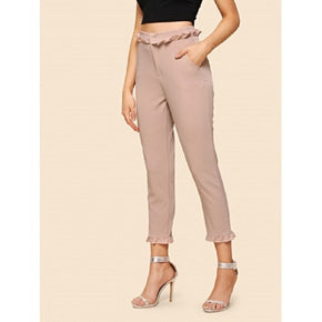 Pink Mid waist pants/ trousers for women online - madrushfashion.com