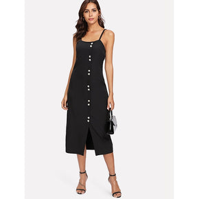 Black Slit Button Up Front Cami Dress