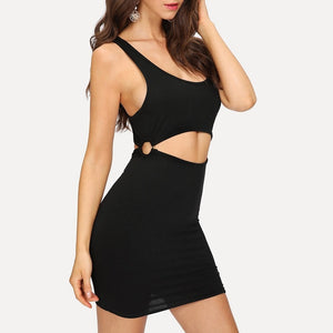 Black O-Ring Detail Ribbed Knit Dress
