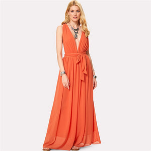 Orange Deep V Neck Self-tie Waist Maxi Dress