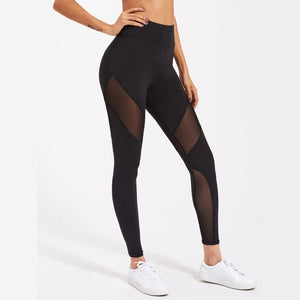 Black Active Mesh Panel Zip Detail Leggings