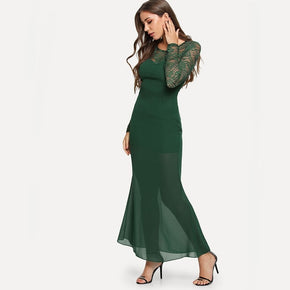Green Open Back Lace Panel Dress
