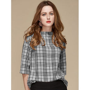 Black and White Tartan Plaid Blouse