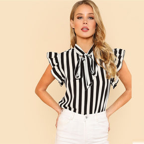 Black and White Tie Neck Butterfly Sleeve Striped Blouse