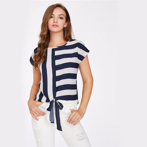 Navy Blue and White Mixed Striped Tied Front Top