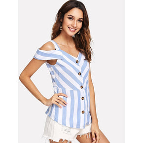 Blue Single Breasted Open Shoulder Striped Top