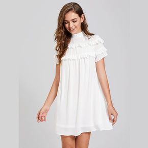 White Band Collar Frill Detail Dress
