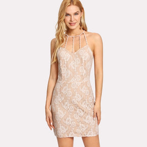 Apricot Caged Neck Lace Dress
