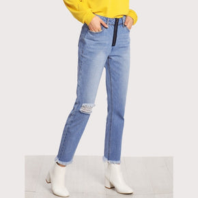 Blue Bleached Washed Ripped Knee Raw Hem Jeans