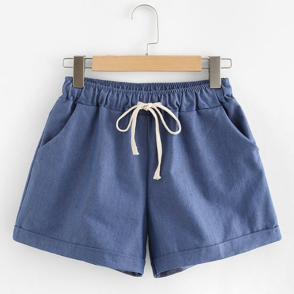 Blue Drawstring Waist Pocket Shorts