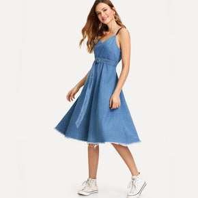 Blue Raw Hem Cami Denim Dress