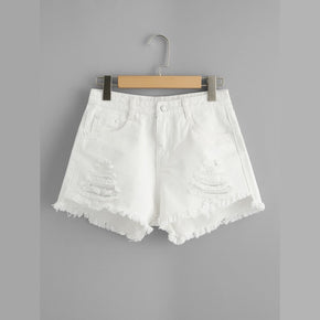 White Raw Hem Ripped Denim Shorts