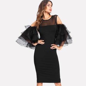 Black Mesh Shoulder Exaggerate Layered Sleeve Dress