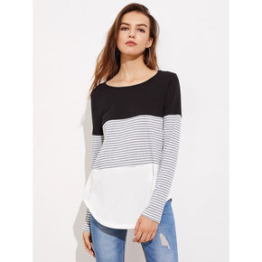 Multicolor Striped Cut And Sew Curved Hem Tee