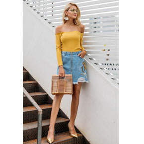 Yellow Long Sleeves Open Shoulder Knitted Top