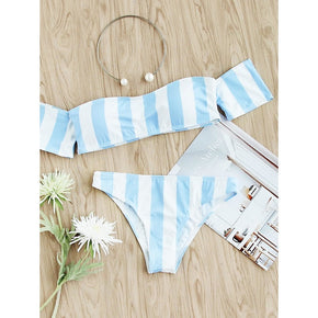 Blue Block Striped Off The Shoulder Bikini Set