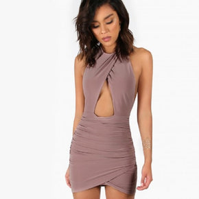 Purple Ruched Peakaboo Halter Dress MAUVE