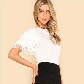 White One Side Fringe Embellished T-shirt